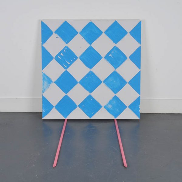 Blue yewntt, acrylic and pencil on canvas with acrylic on primed wooden sticks, dimensions variable, 2013