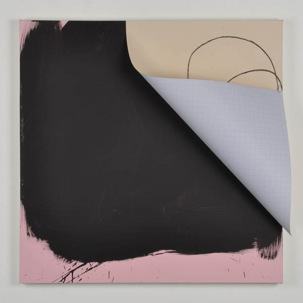 Dolf, acrylic and paper with charcoal and silver nail on canvas, 100 x 100cm, 2013