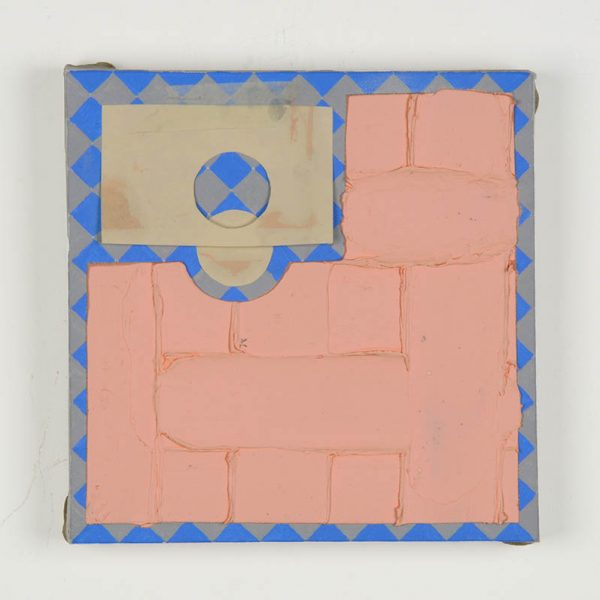 Little fat pink, acrylic with oil and wax, paper and masking tape on linen, 25 x 25cm, 2013